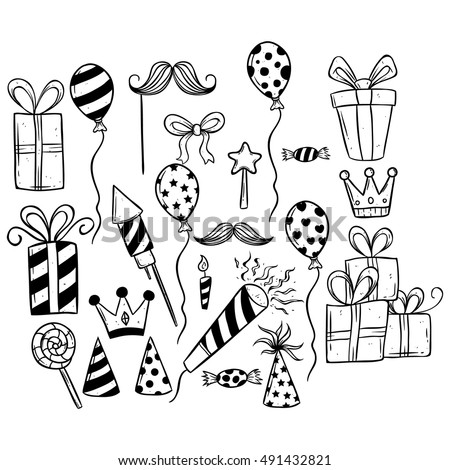 doodle cute birthday party set on white background