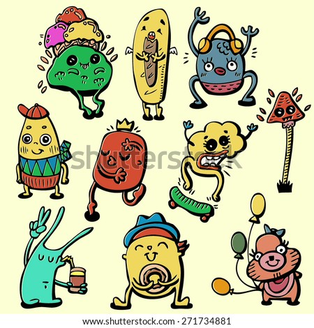 doodle cute monster set, colorful crazy character, isolated design elements