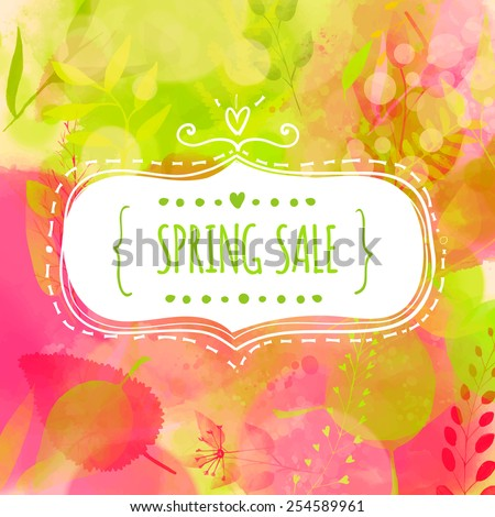 Doodle decorative frame with text spring sale. Nature inspired pink and green background with watercolor texture and leaves. Vector design for spring advertisement, banners, cards. - stock vector