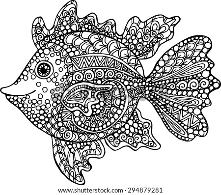Doodle decorative hand drawn fish illustration. Goldfish drawing