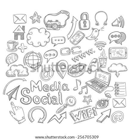 Doodle decorative icons set with creative elements isolated vector illustration - stock vector