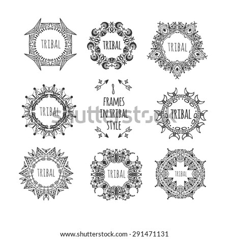 Doodle decorative set of frames in tribal style. - stock vector