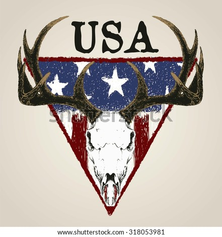 DOODLE DEER SKULL AND GRUNGE AMERICAN FLAG ISOLATED - stock vector