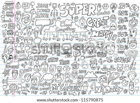 Doodle Design Elements Vector Illustration Set - stock vector