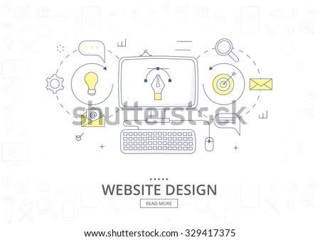 Doodle design style concept  banner for graphic design and web design. Website design development. Graphic design and web design icons. Modern line style illustration.  - stock vector