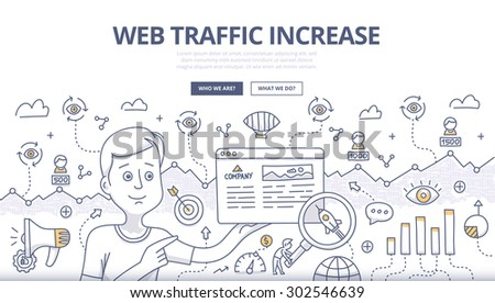 Doodle design style concept of analyzing SEO data and building strategy to increase traffic to website. SEO conceptual linear illustration for web banners, printed and promotional materials - stock vector