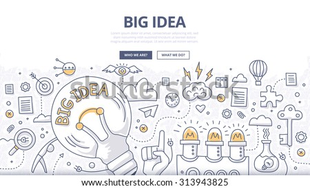 Doodle design style concept of big idea, finding solution, brainstorming, creative thinking. Modern line style illustration for web banners, hero images, printed materials - stock vector