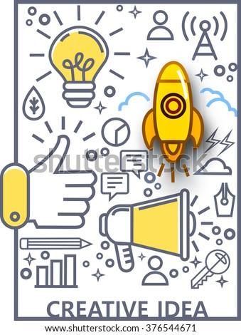 Doodle design style concept of big idea,line icons set of content creative idea  - stock vector