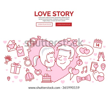 Doodle design style concept of card. St. Valentine's day line icon set. Love, wedding or dating romantic symbols. Heart, rings, love letters, gift, messages, dress. Linear Collection. - stock vector