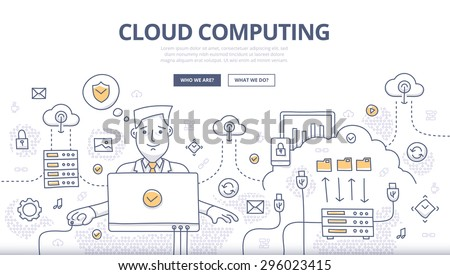 Doodle design style concept of cloud computing technology, web hosting, digital connections.Modern line style concept for web banners, online tutorials, printed and promotional materials - stock vector