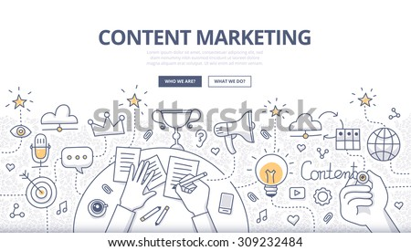 Doodle design style concept creating marketing stock for Digital marketing materials