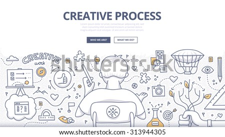 Doodle design style concept of creativity, imagination and design thinking. Modern linear style illustration for web banners, hero images, printed materials - stock vector
