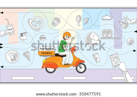 Doodle design style concept of food delivery. Modern line style concepts for web banners, printed and promotional materials - stock vector