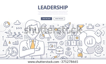 Doodle design style concept of leadership in business, career opportunities and strategy vision - stock vector