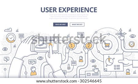 Doodle design style concept of purchasing process in online store, optimizing user experience in e-commerce. Modern line style concepts for web banners, printed and promotional materials