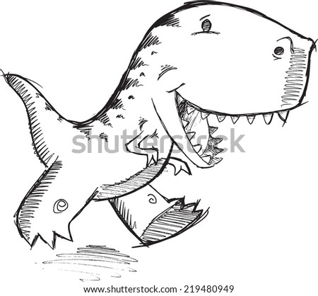 Doodle Dinosaur T-Rex Vector Illustration Art - stock vector