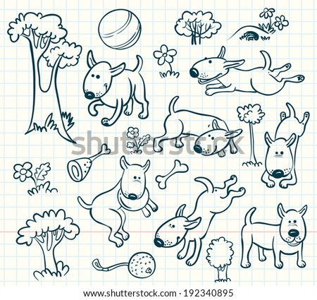 Doodle dogs set - stock vector
