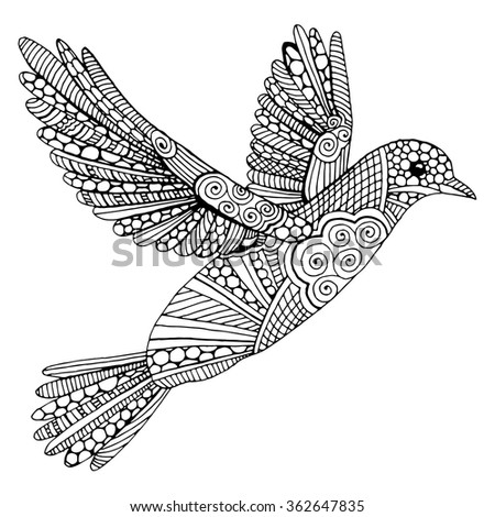 Doodle dove illustration - stock vector