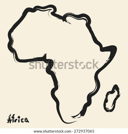 doodle drawing africa continent - stock vector