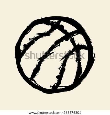 doodle drawing basketball - stock vector