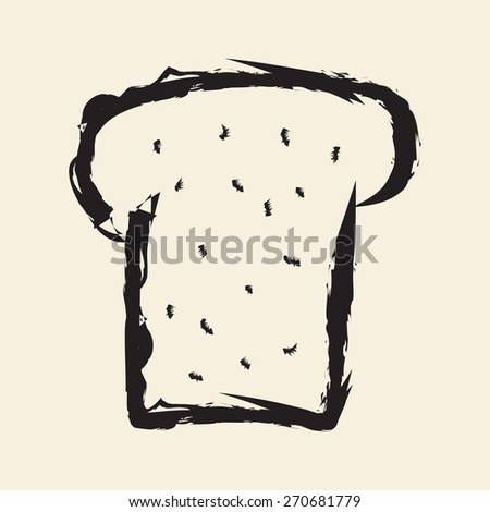 doodle drawing bread - stock vector
