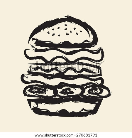doodle drawing burger - stock vector