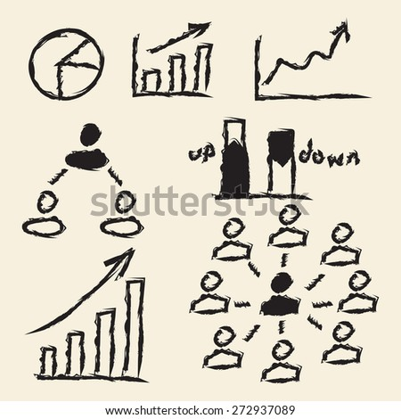 doodle drawing business charts - stock vector