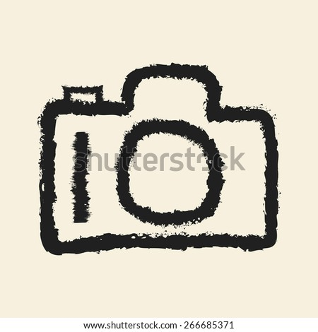 doodle drawing camera - stock vector