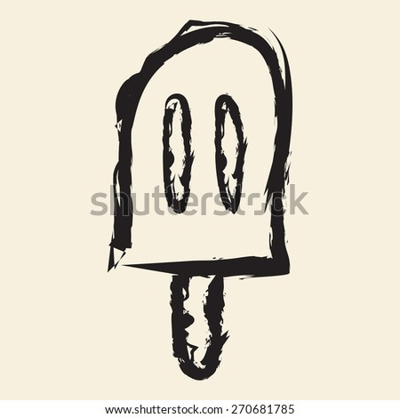 doodle drawing ice cream - stock vector