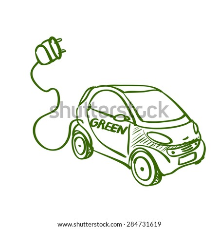 Doodle drawing of eco green friendly electric car on white background - stock vector