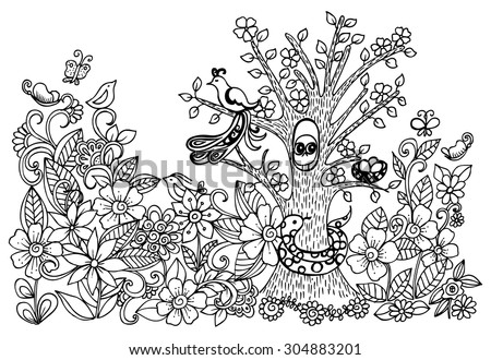 Doodle drawing of magical forest. Vector image with wild animals and floral pattern. - stock vector