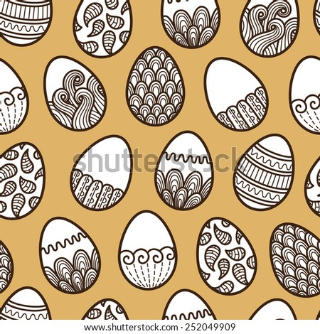 doodle Easter pattern. Vector seamless doodle easter pattern with Easter eggs - stock vector