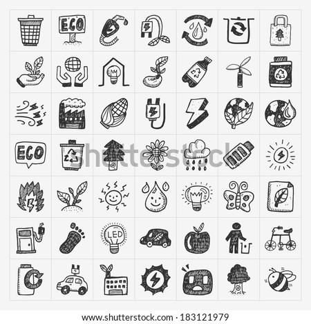 doodle eco icons - stock vector