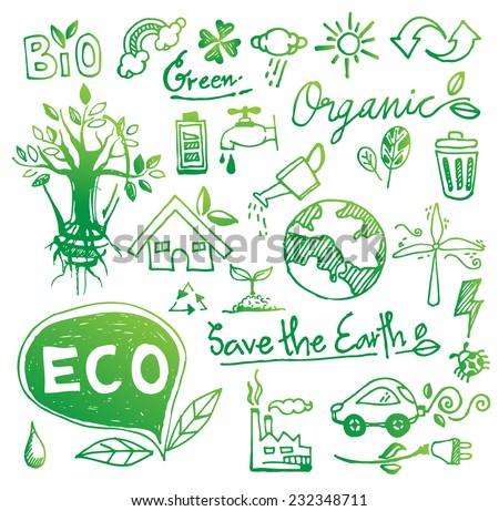 doodle eco vector. Ecology icon set. Eco-icons. - stock vector