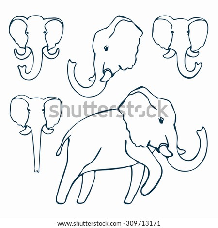 Doodle elephants outline. Vector illustration for coloring.