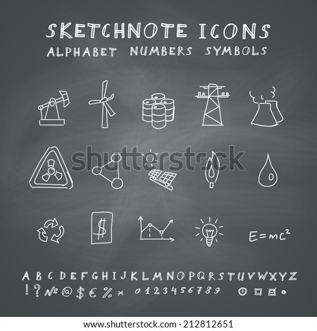 Doodle Energy Icons, Alphabet and Symbols Set. Vector set on chalkboard background - stock vector
