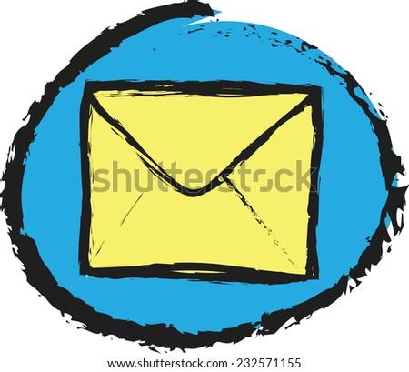 doodle envelope icon vector - stock vector
