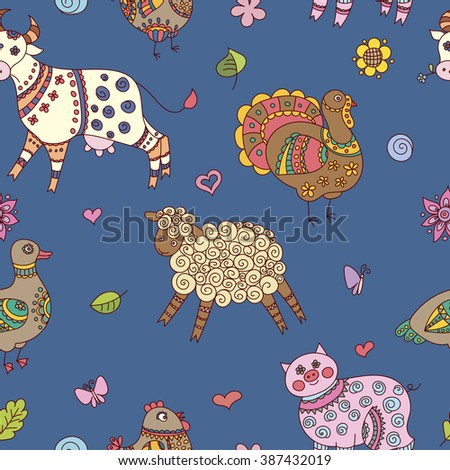 Doodle farm animals seamless pattern - stock vector