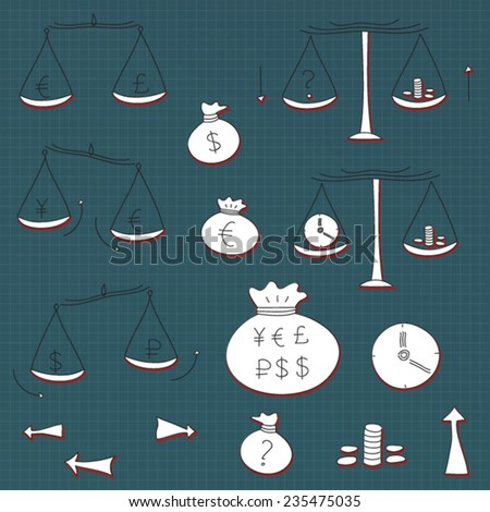 Doodle finance banking money exchange hand drawn icon set. Isolated, vector.  - stock vector