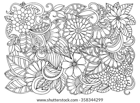 doodle floral pattern in black and white page for coloring book very interesting and - Colouring In Patterns