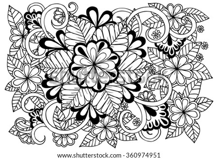 Doodle Floral Pattern Black White Page Stock Vector 360974951 ...