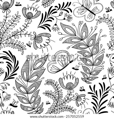 Doodle floral seamless pattern with butterfly - stock vector
