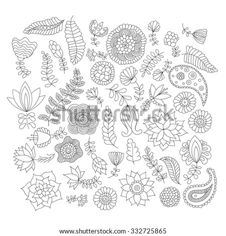 Doodle flower elements black and white isolated. Vector decorative objects for design