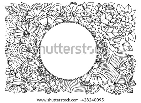Doodle flower frame. Doodle floral image in black and white. - stock vector