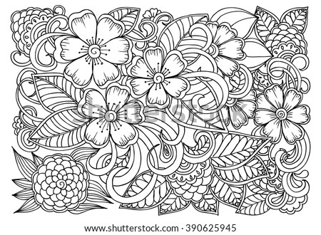 Doodle Flower Pattern Beautiful Floral Drawing In Black And White Adult Coloring Book