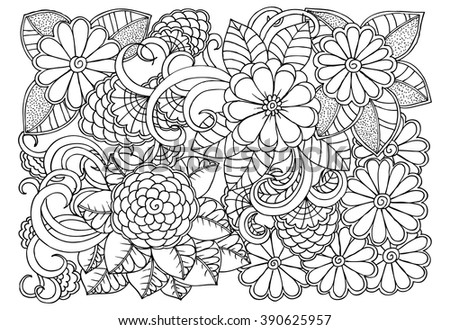 Doodle Flower Pattern Beautiful Floral Drawing Stock