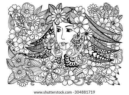 Doodle flowers in black and white and beautiful woman's face - stock vector