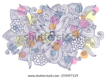 Doodle flowers. Line art floral pattern - stock vector