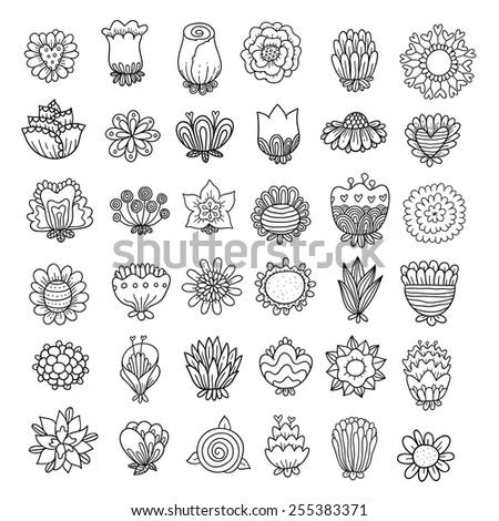 Doodle flowers set.  - stock vector