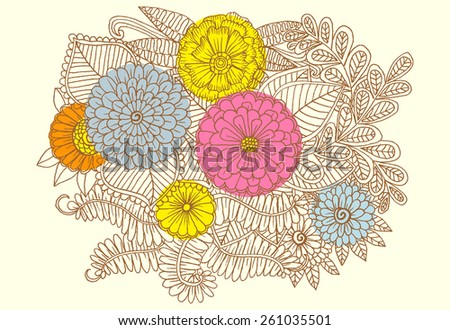 Doodle flowers. Vector zen-tangle floral pattern - stock vector
